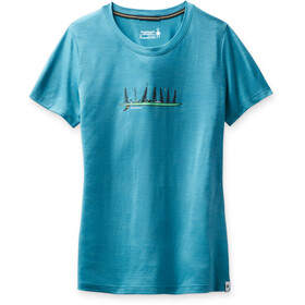 Smartwool Merino Sport 150 Shirt Camping with Friends Graphic Women, light ocean abyss heather
